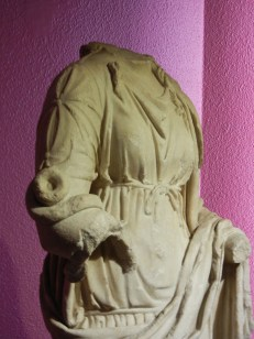 """I noticed that the roman statuary I've encountered here in Turkey seems to be differently garbed than that in Italy. The clothing is more complicated and also much more """"wrapped."""" I don't know if this signifies a different era of fashion or an early move toward the more covered female form that has prevailed until today in this area."""