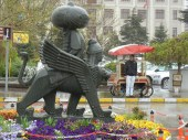 The three headed sphinks statue outside the Ankara train station.