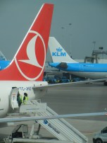 Turkish Airlines and KLM planes passing eachother. It felt very symbolic of my journey from East to West