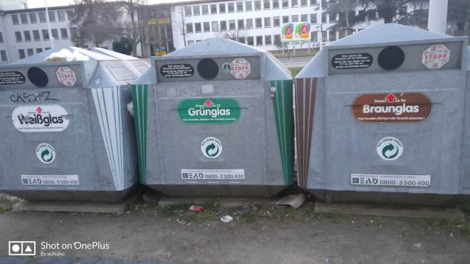 Three trash just for dropping glass bottles germany