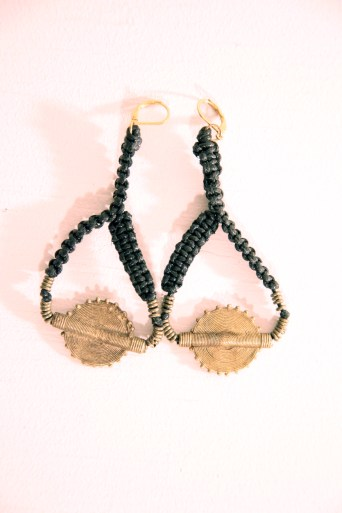 black leatherette and brass earrings