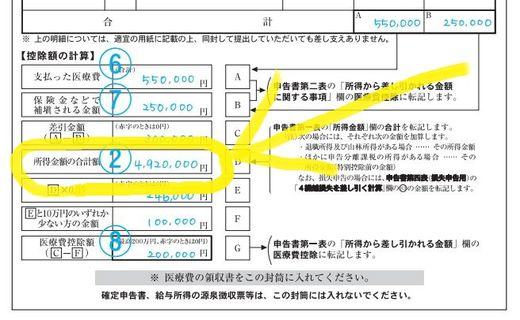 医療費の明細書(記入例)所得金額の合計額