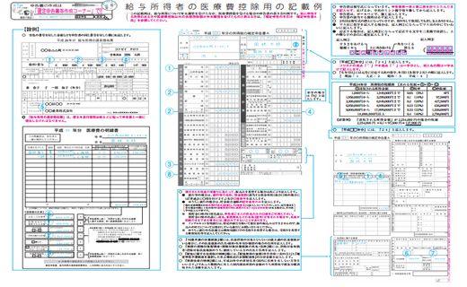 医療費控除 必要書類の記載例