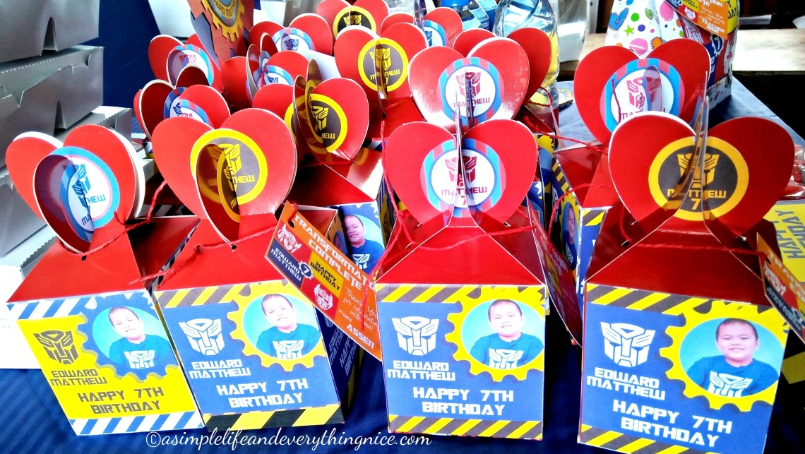 transformers birthday party favor boxes
