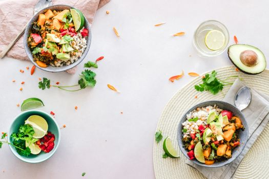 Bowls of rice and vegetables