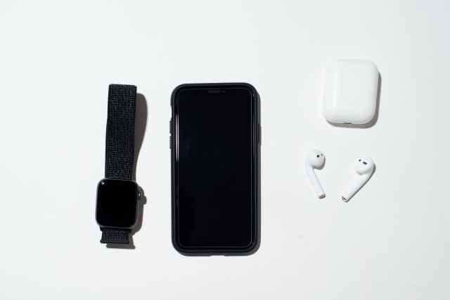 arranged mobile phone with gadgets