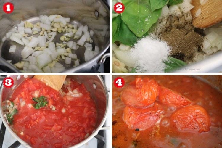 Steps to make Tomato Basil Sauce