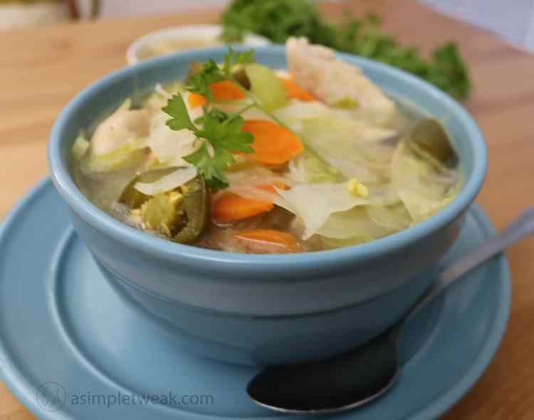 A Bowl of Chicken Cabbage Soup by asimpletweak.com