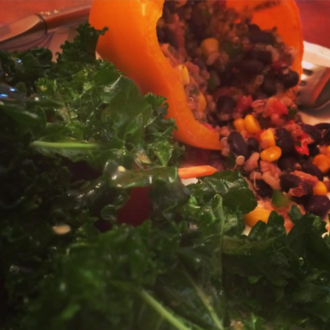 Quinoa Stuffed Bell Peppers & Kale, Spinach Salad