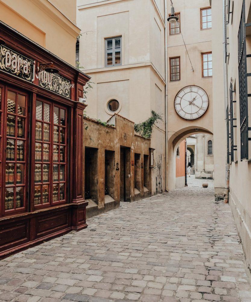 Street of Lviv, Ukraine - Large Clock
