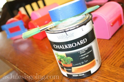 use chalkboard paint to create personalized mailboxes