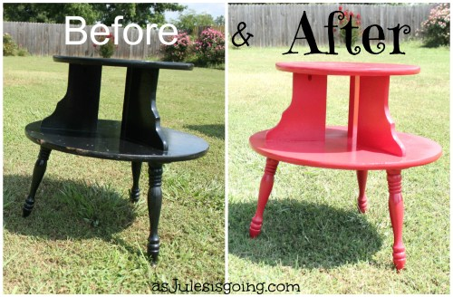 End Tables Red before and after