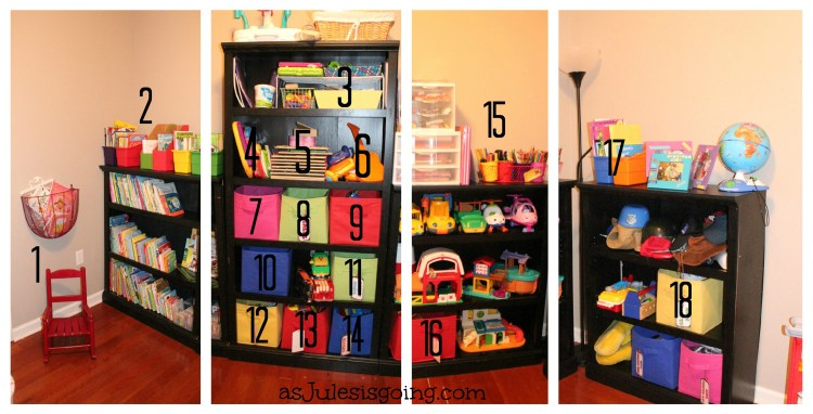 Panoramic Playroom Shelving Numbered Centers