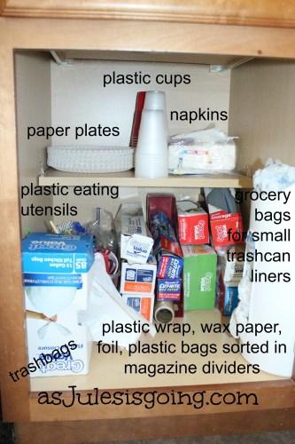 Paper Goods Cabinet Organization