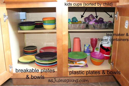 Plates, Bowls, Cups Cabinet Organization