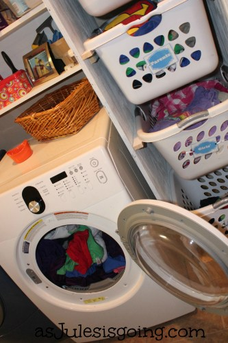 easy sorting with hanging laundry baskets