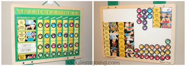 Up Close pic of children's chore chart