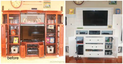 Entertainment Center before and after