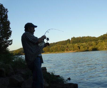 fisherman on shoreline reeling in fish