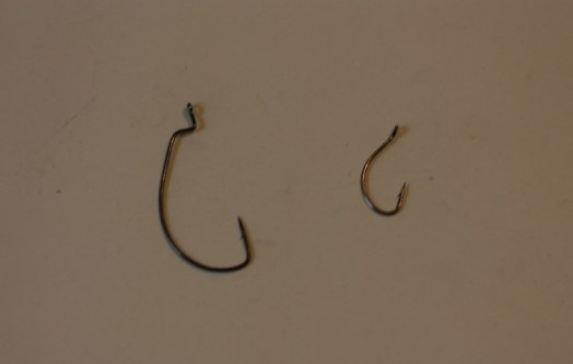 Choosing the right hook for a rig may be t worm or wacky rig hook