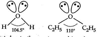 In both water and diethyl ether, the central atom viz. O