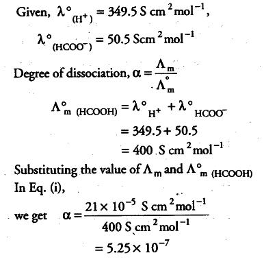Conductivity of 2.5 x ${{10}^{-4}}$ M methanoic acid