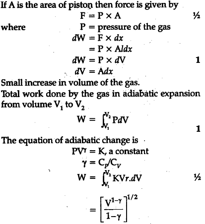 Derive an expression for work done in adiabatic expansion