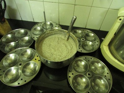 Ragi Idli batter is ready to go into the idli plates.
