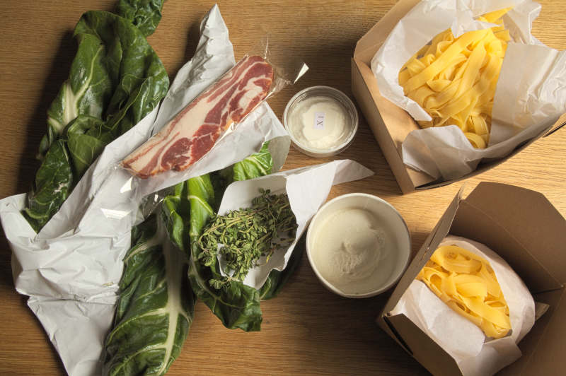 Ingredients for pasta with chard & bacon