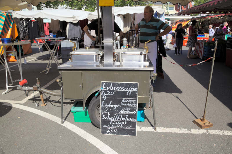 Very old style street food, but popular by old & young: pea soup with sausage
