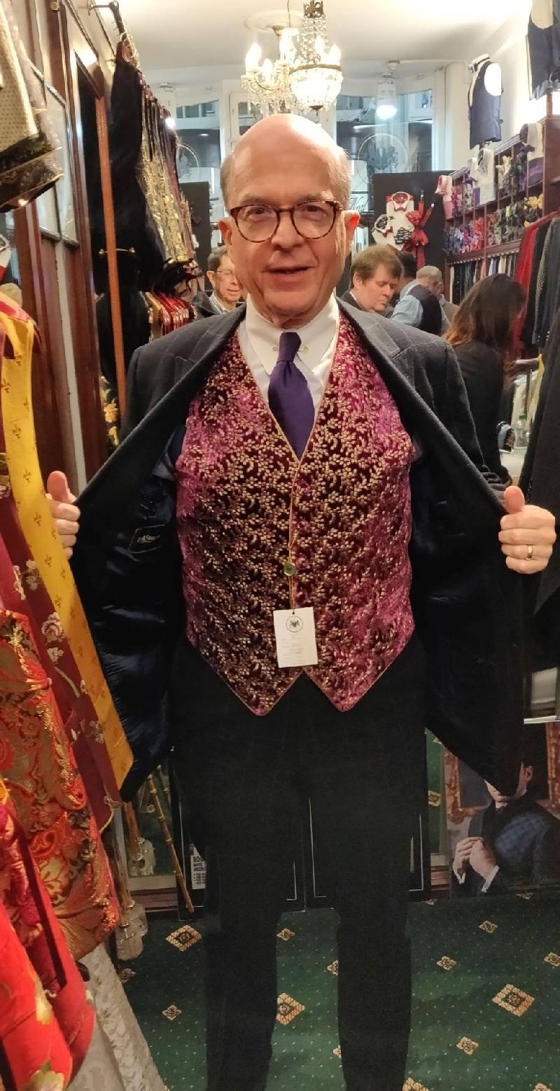 Bruce showing off his Neal and Palmer waistcoat