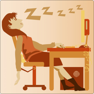 illustration of a female worker sleeping