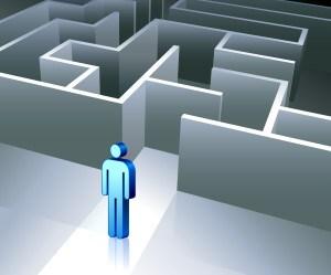 Business gender figure on maze background