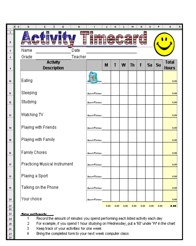 time card template for excel