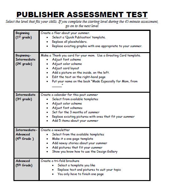 110: Publisher Skills Assessment for Grades 3-8 | Ask a Tech Teacher