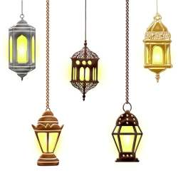 Photo showing several lamps of Middle Eastern design