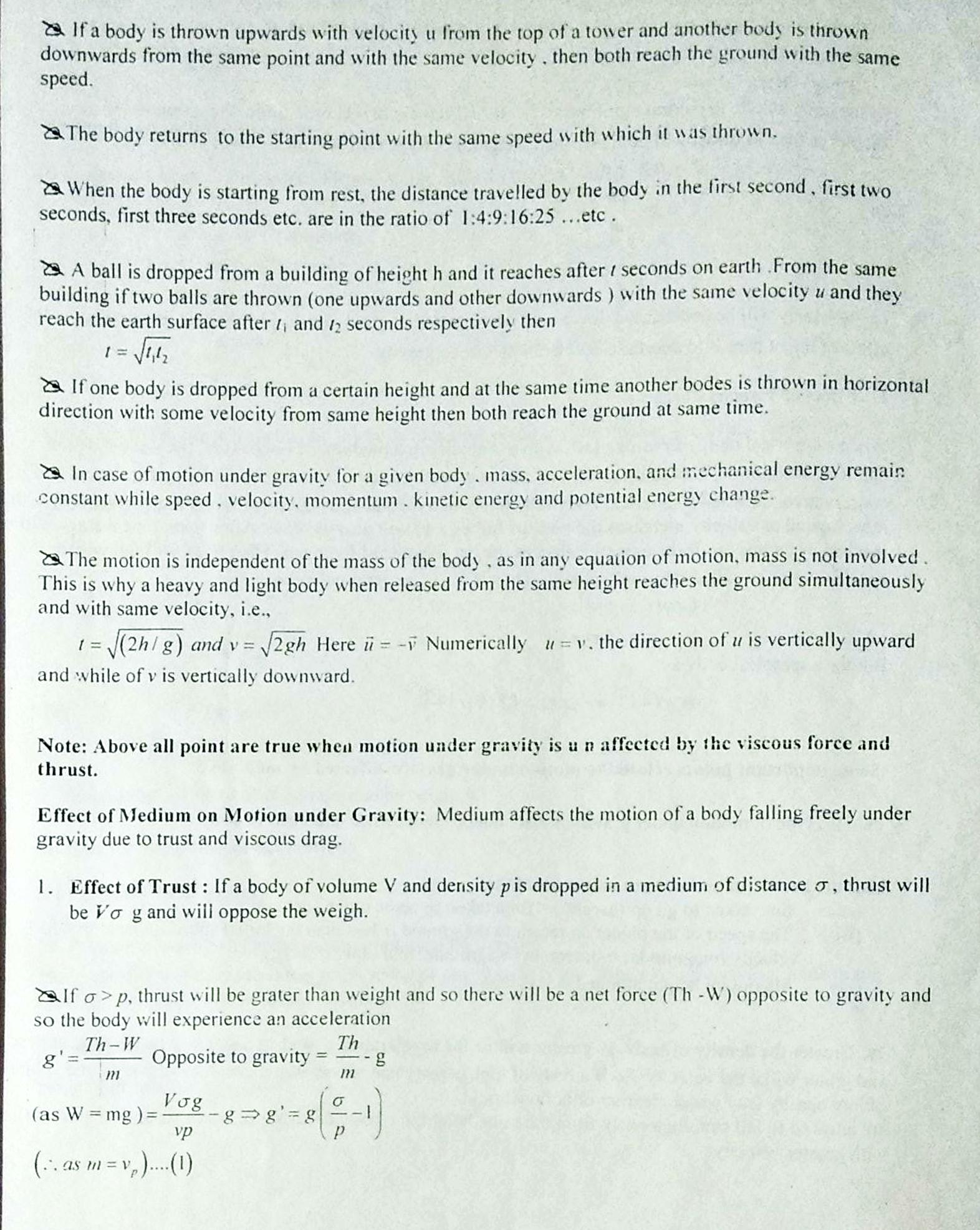 Motion In One Dimension Notes For Neet Aiims And Jee
