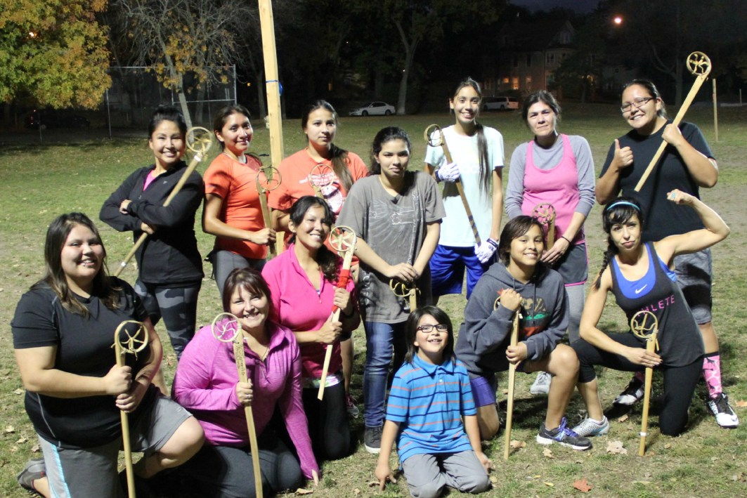 Women with the Twin Cities Native Lacrosse group meet for practice at Corcoran Park in Minneapolis on Oct. 20, 2015.