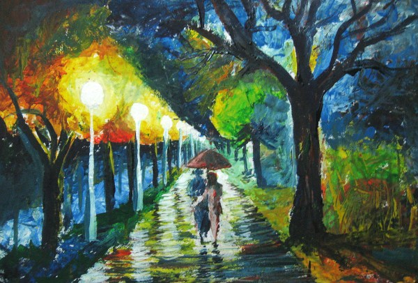 Rainy Night Walk Painting