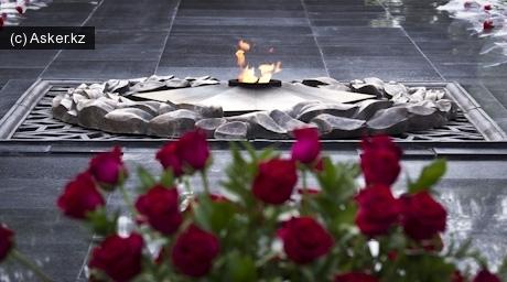 Вечный огонь в парке 28 гвардейцев-панфиловцев