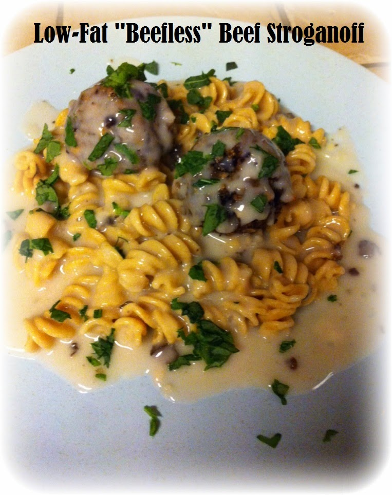 "Low-fat Beefless ""Beef"" Stroganoff"