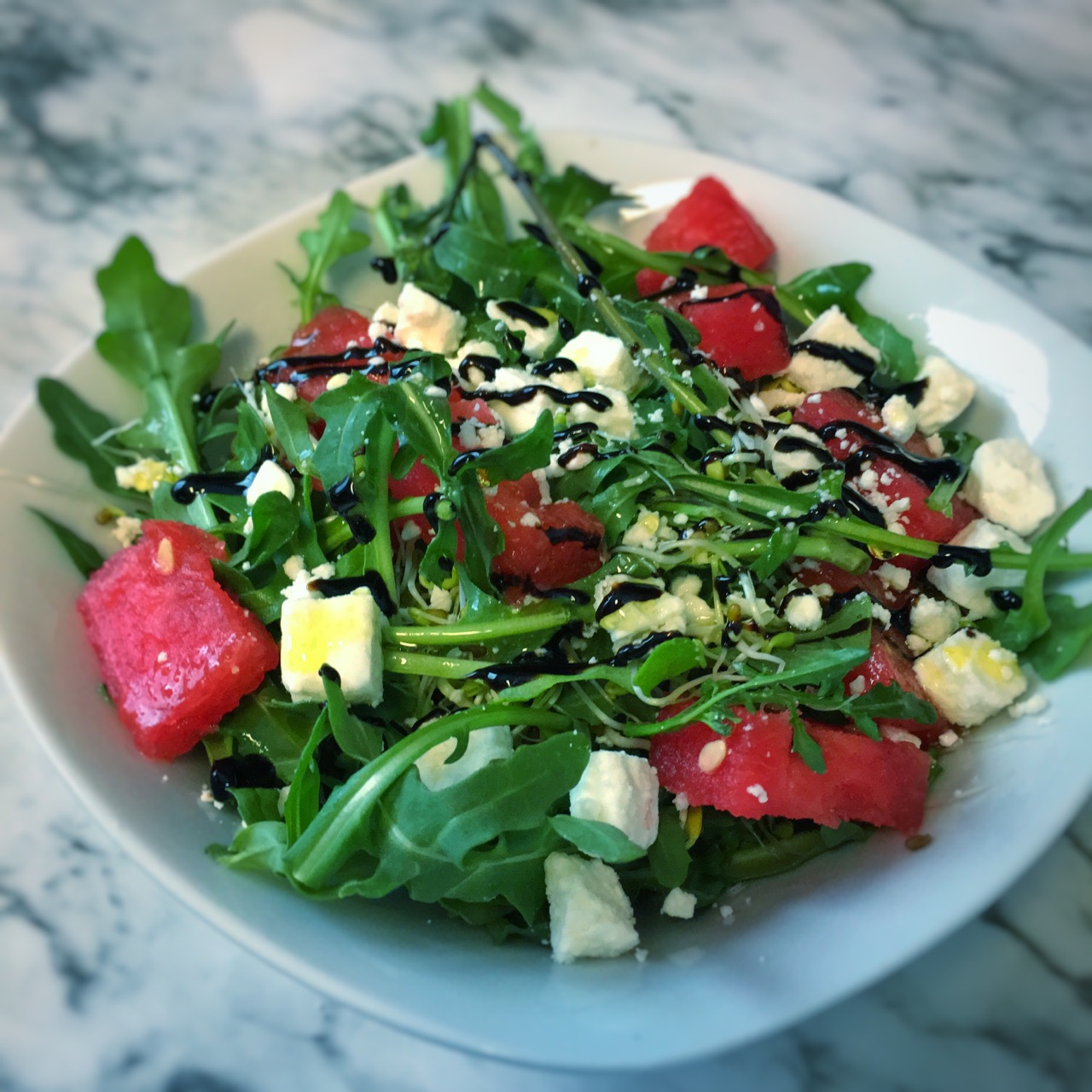 Balsamic Glazed Watermelon Arugula Salad