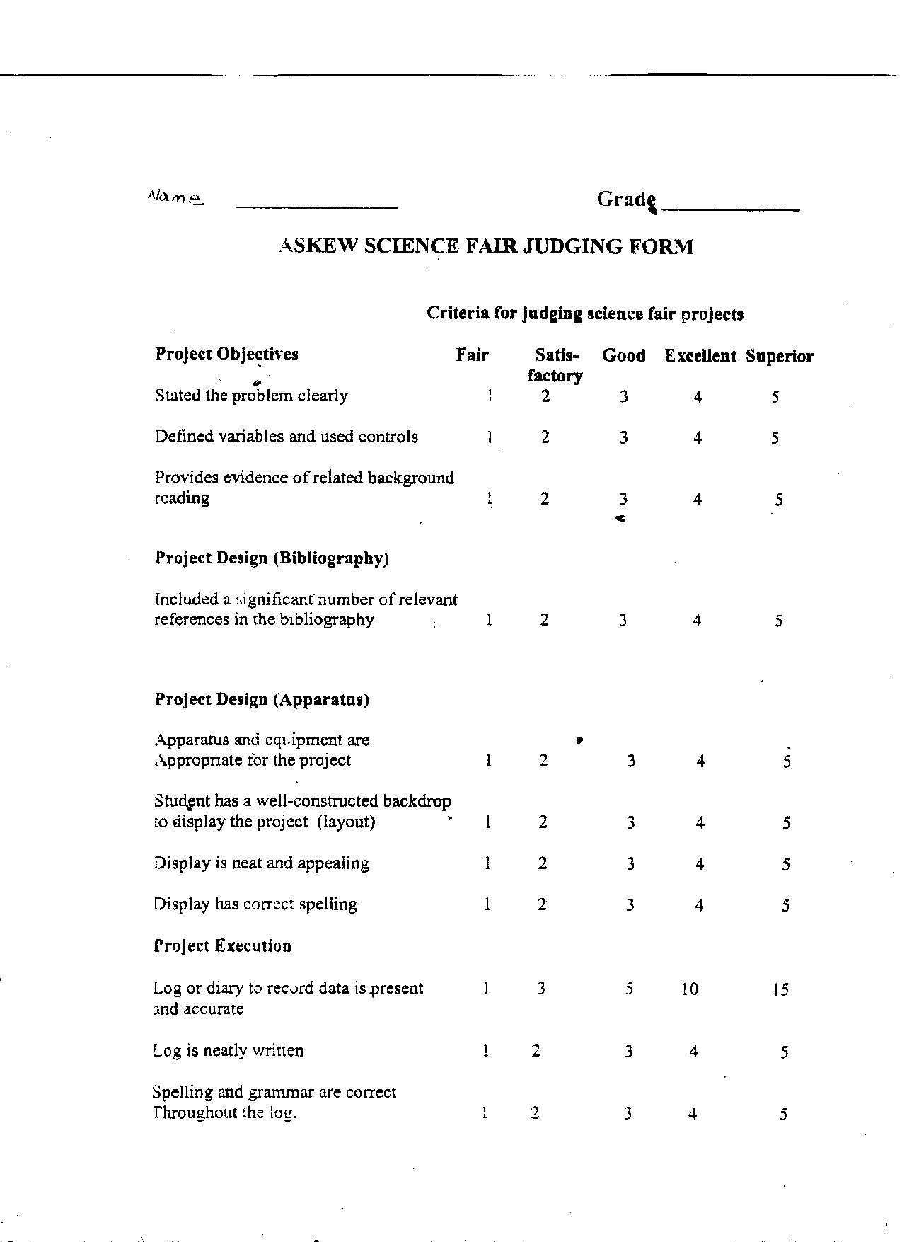 Science Fair Form Thinkpawsitive Co