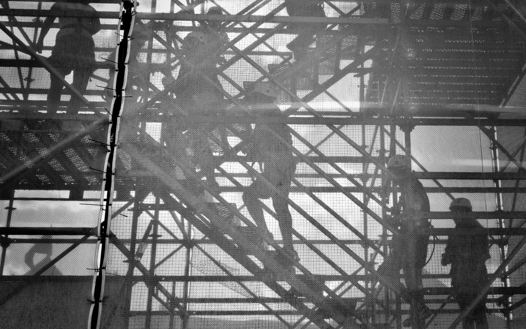construction workers on stairs