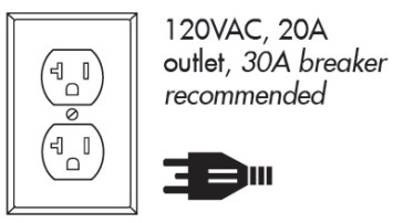 120VAC, 20A outlet, 30A breaker recommended
