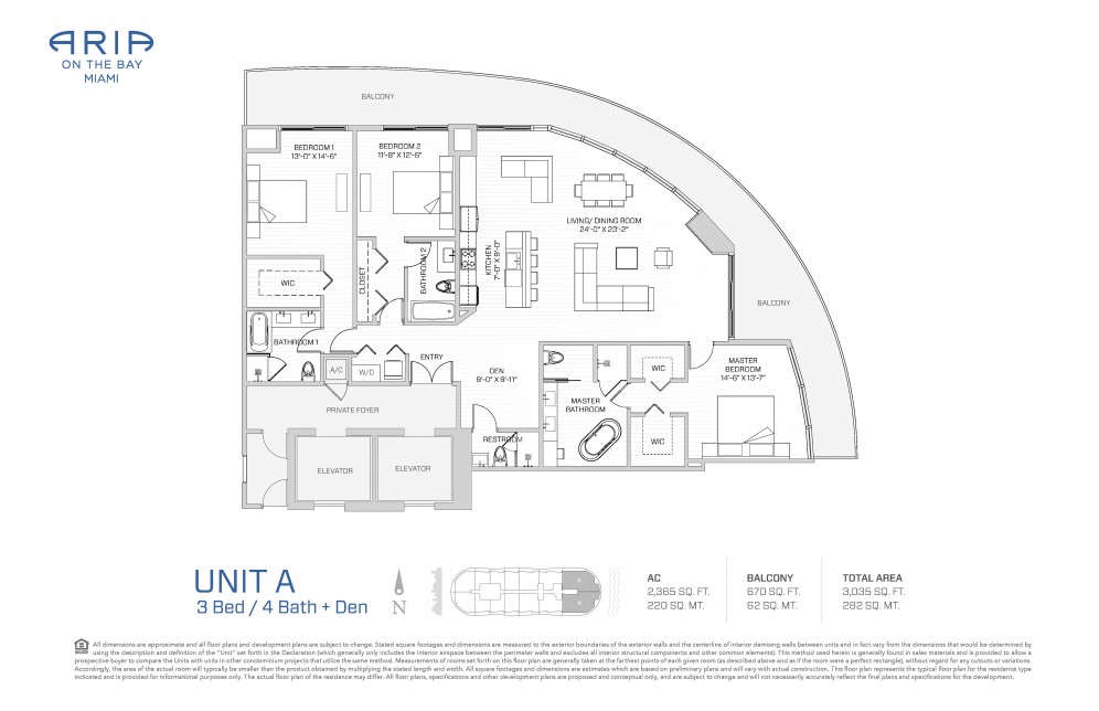 Floor Plan Model A(N), Line15 atARIA on the Bay, Miami