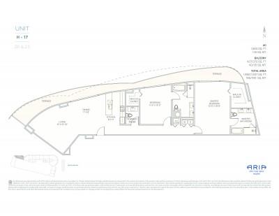 Floor Plan Model H-pod, Line17 atARIA on the Bay, Miami