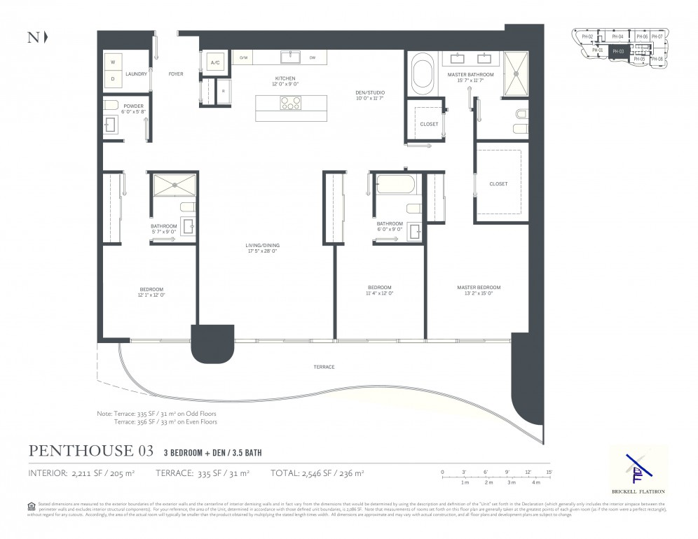 Floor Plan Model PH 03, Line03 atBRICKELL FLATIRON , Miami