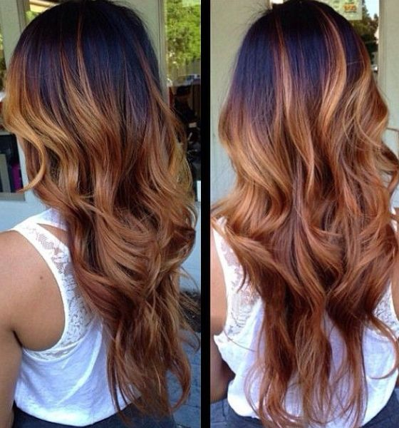 Ombre Hair Black To Red Brown