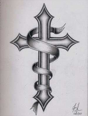 cross tattoo ribbon designs grey tattoos banner drawing simple cool wings tribal names angel tatto rose roses pattern date without